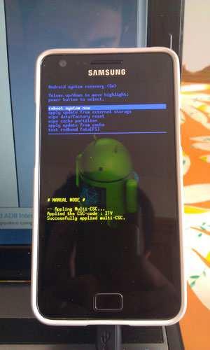 Samsung Galaxy S2 reset da spento Android Recovery Mode Guida