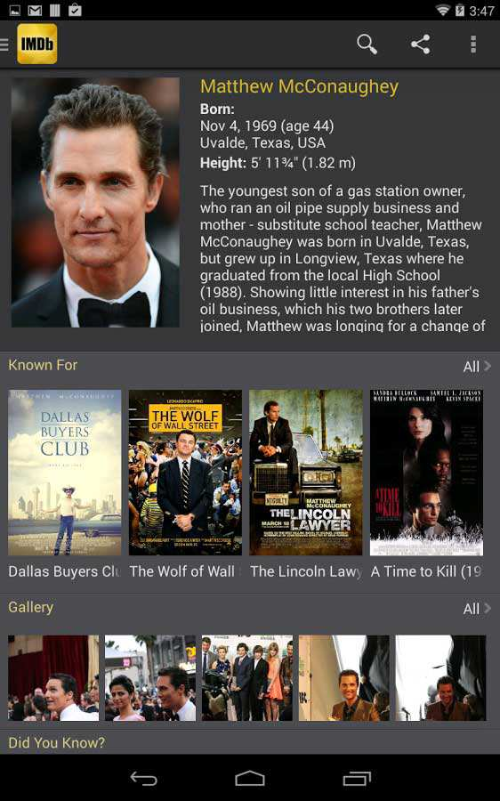 Imdb film tv download smartphone tablet android for Smartphone ultime uscite