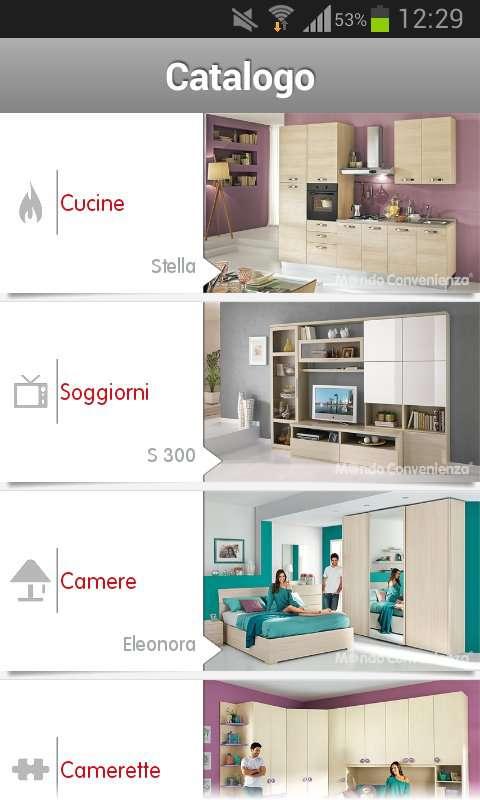 Mondo Convenienza catalogo cucine camere soggiorni bagni divani letti