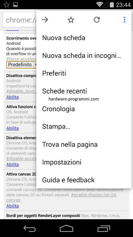 aumentare ram android chrome