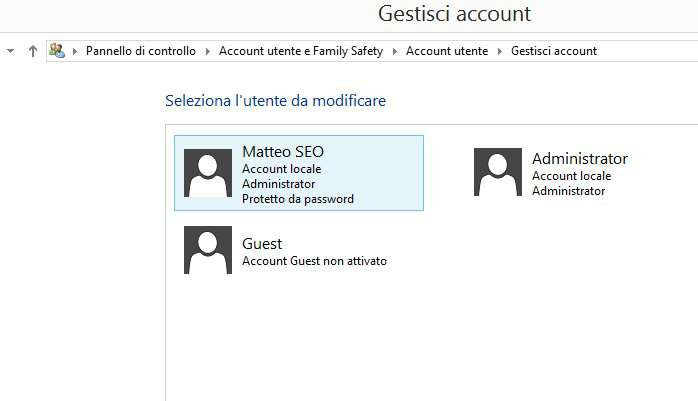 cambiare password windows