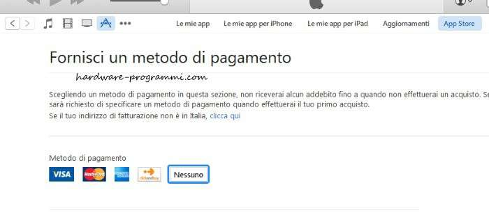 Come registrare un account su iTunes senza carta di credito