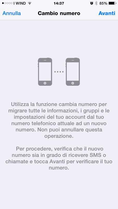 cambiare numero whatsapp