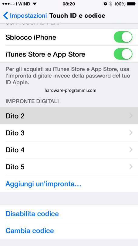 codice pin touch id iphone