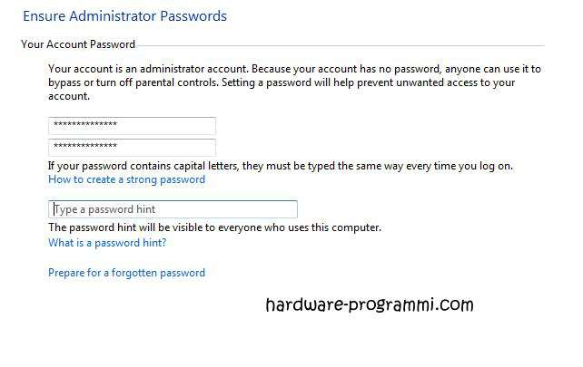 proteggere windows con password