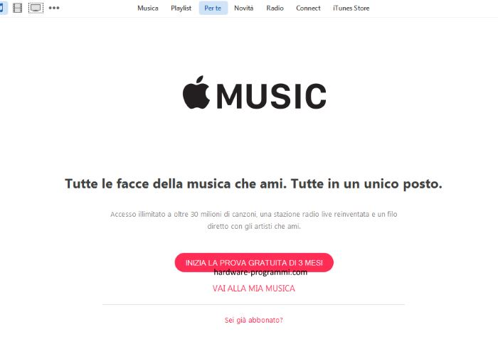 prova gratis apple music pc computer