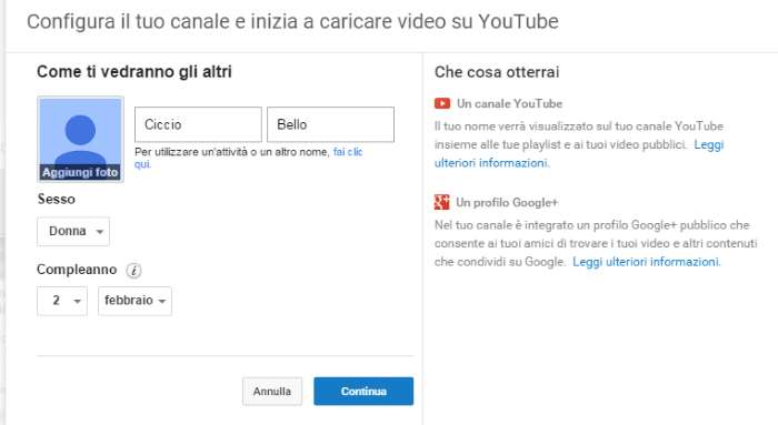 creare canale youtube