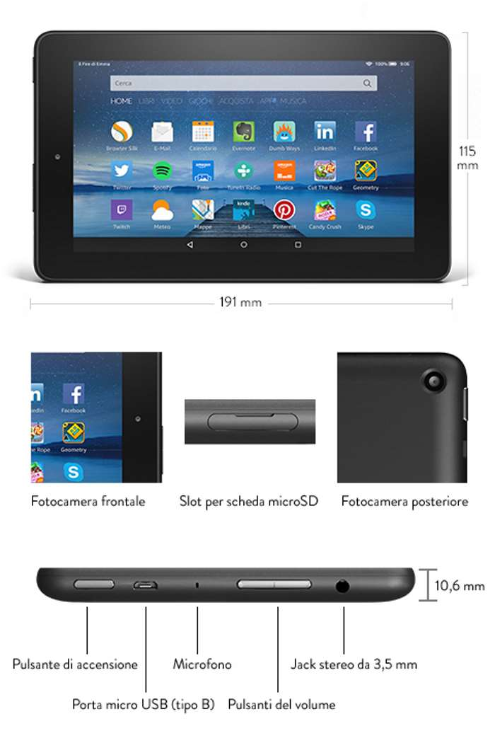 scheda tecnica amazon fire tablet