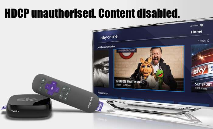 HDCP unauthorised. Content disabled sky online