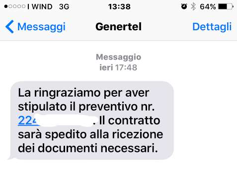 genertel preventivi falsi sms