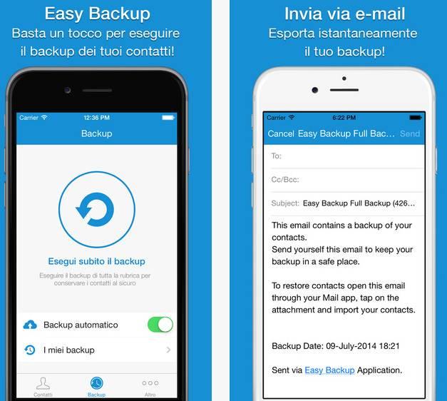 backup rubrica da samsung a iphone