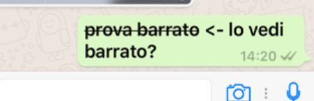 inviare testo barrato whatsapp