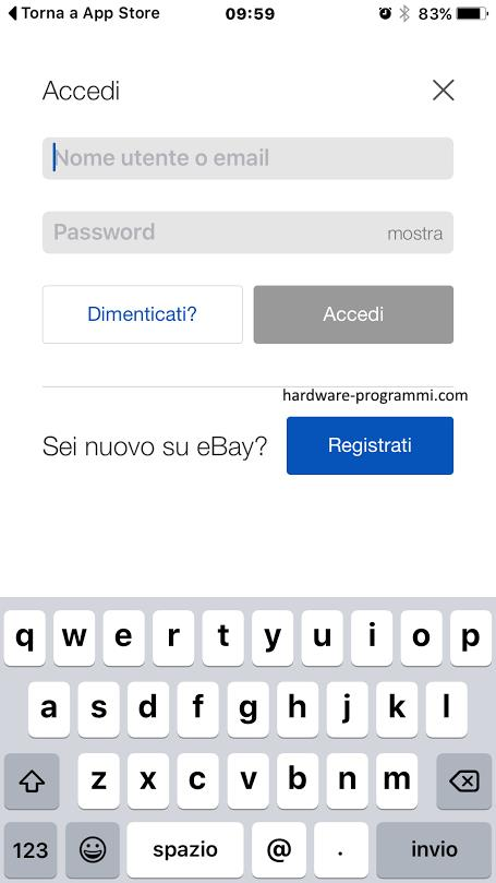 registrazione account ebay