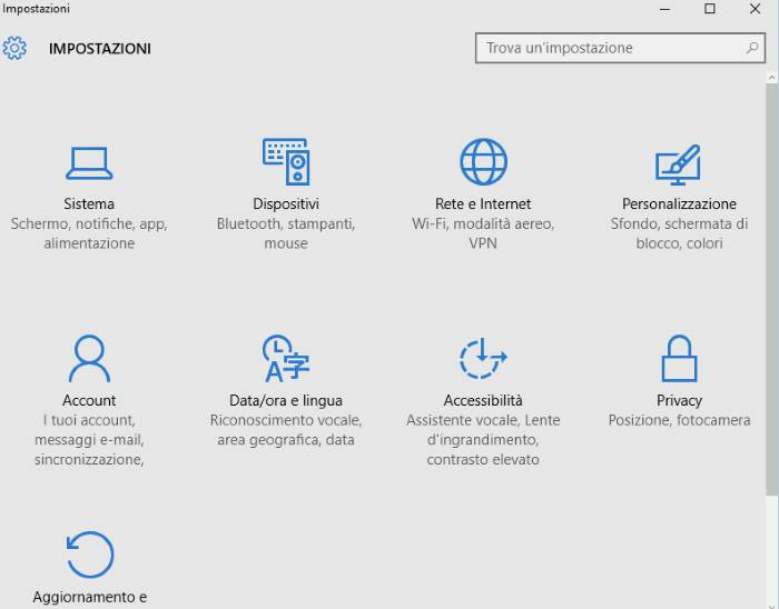 impostazioni windows 10 account