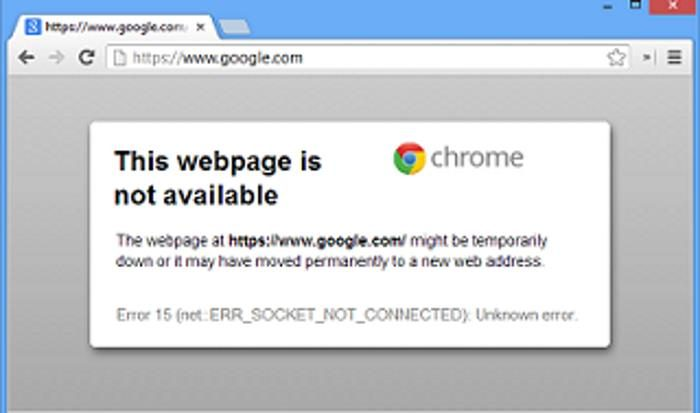 error 15 err_socket_not_connected