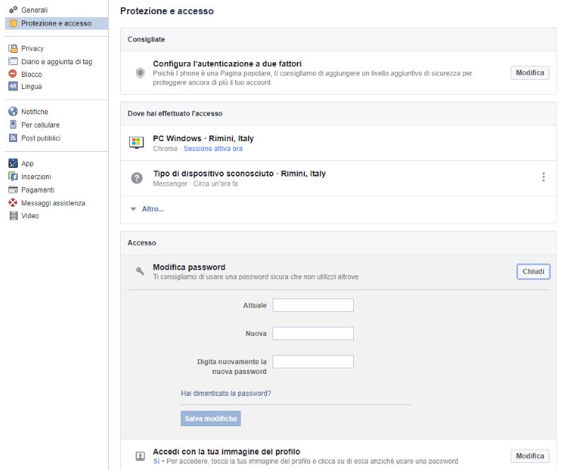 cambio modifica password facebook