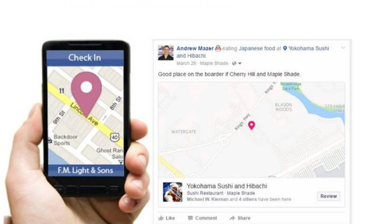 facebook pozione check in