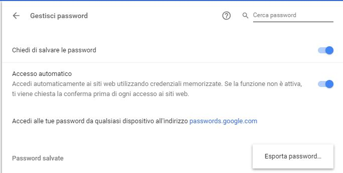 come esportare password google chrome