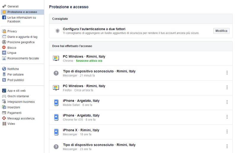 dispositivi collegati account Facebook