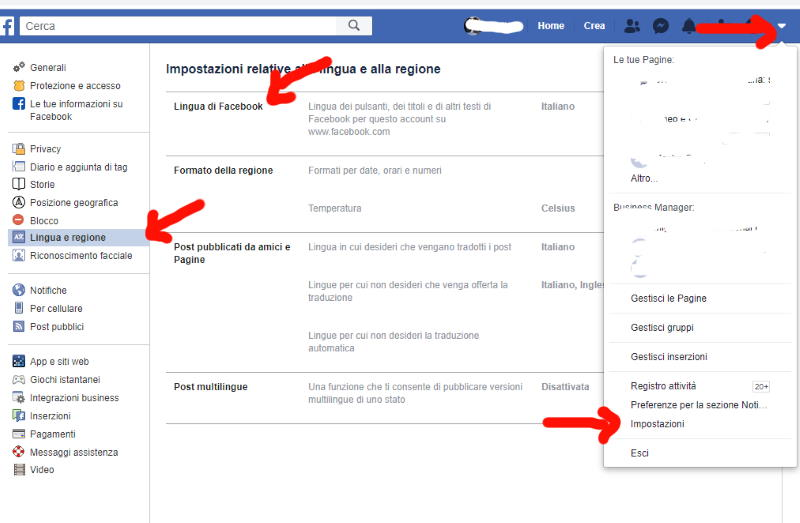 come impostare italiano facebook