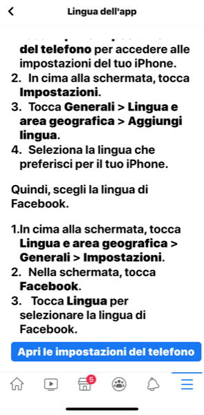 impostare lingua facebook tablet